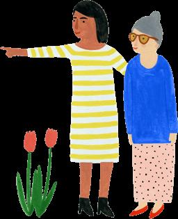 Illustratie uit de campagne van vrouw die oudere dame de weg wijst